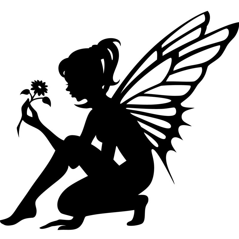 sticker silhouette f e tenant une fleur   stickers filles