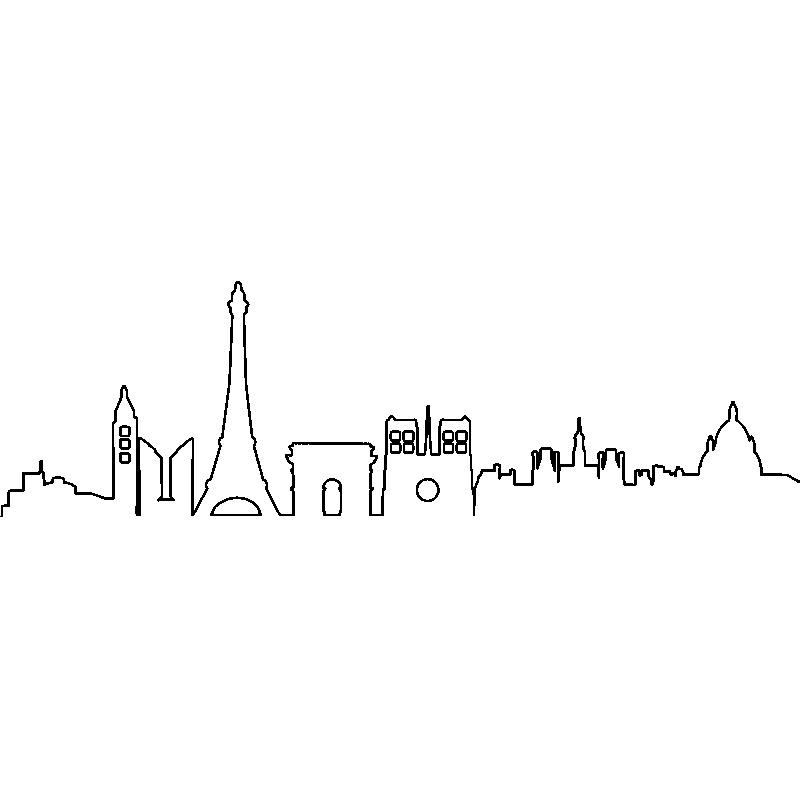 Sticker Skyline Paris Dans La Brumes