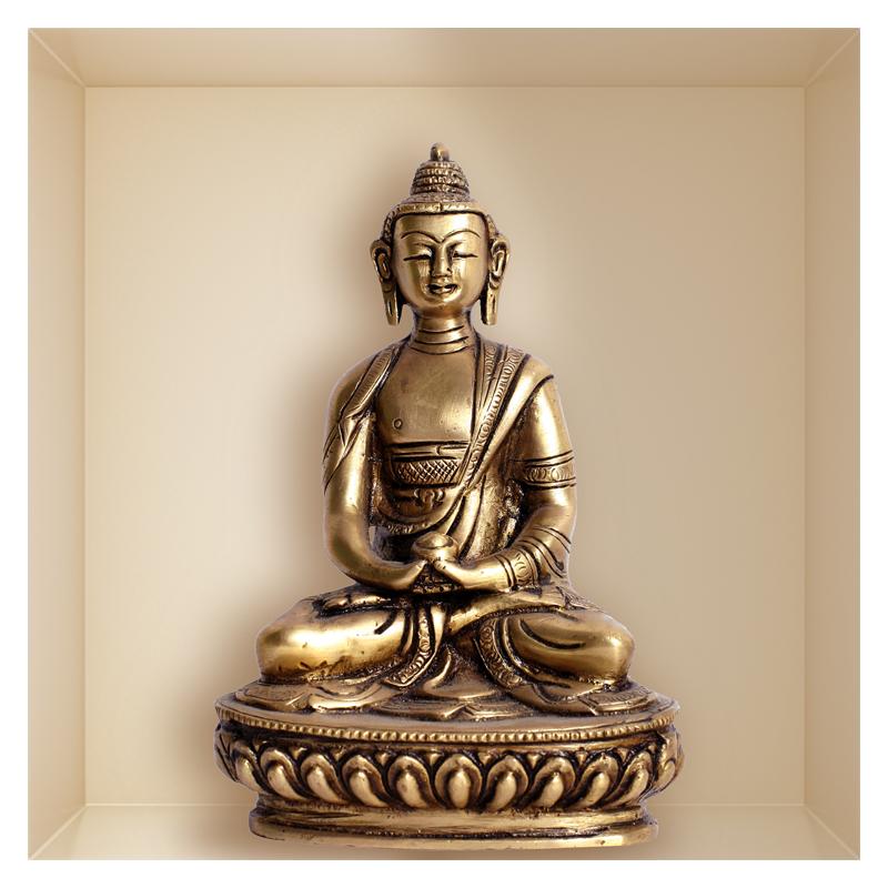 sticker trompe l 39 oeil statue de bouddha. Black Bedroom Furniture Sets. Home Design Ideas