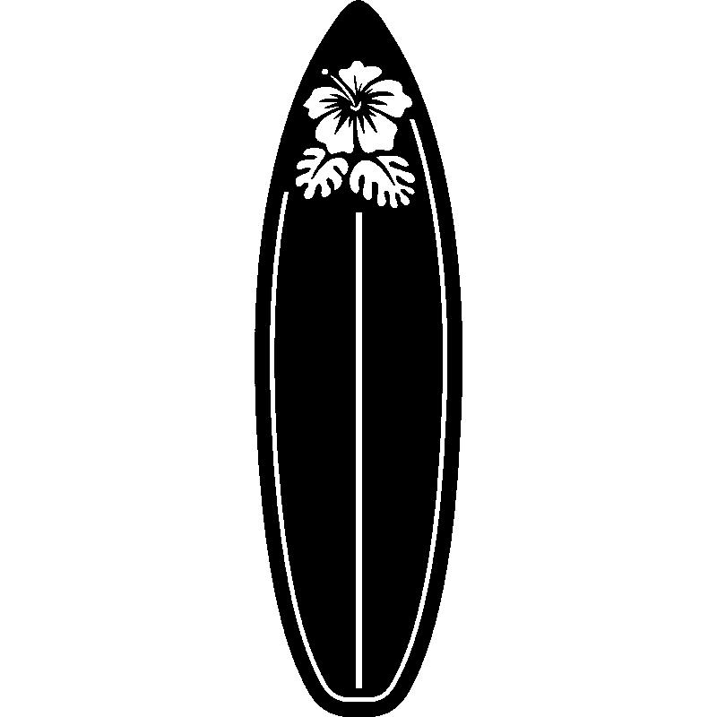 Deco Chambre Ado Noir Et Blanc : Sticker surf planche avec une fleur stickers chambre ado