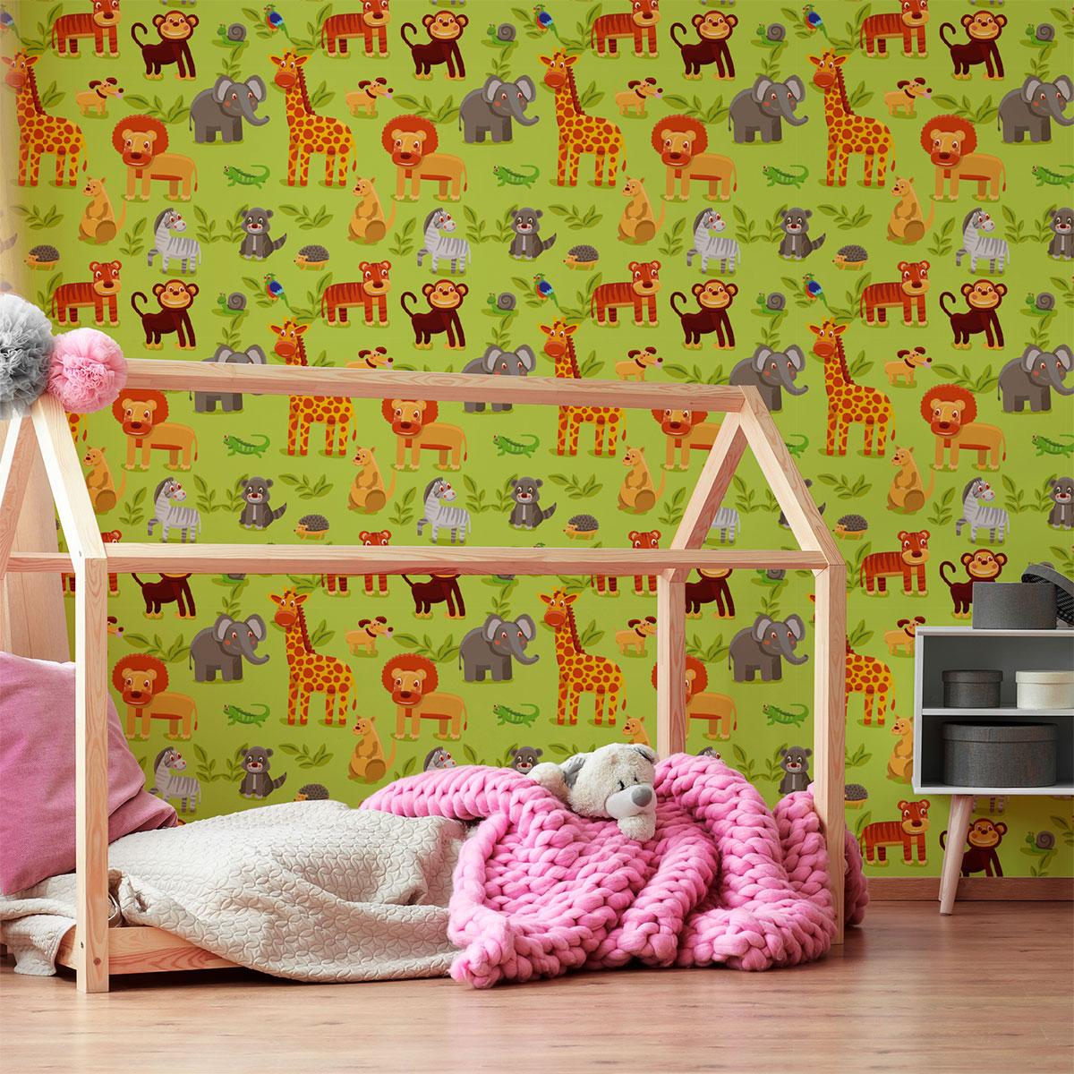 sticker tapisserie chambre enfant animaux d 39 afrique animaux oiseaux ambiance sticker. Black Bedroom Furniture Sets. Home Design Ideas