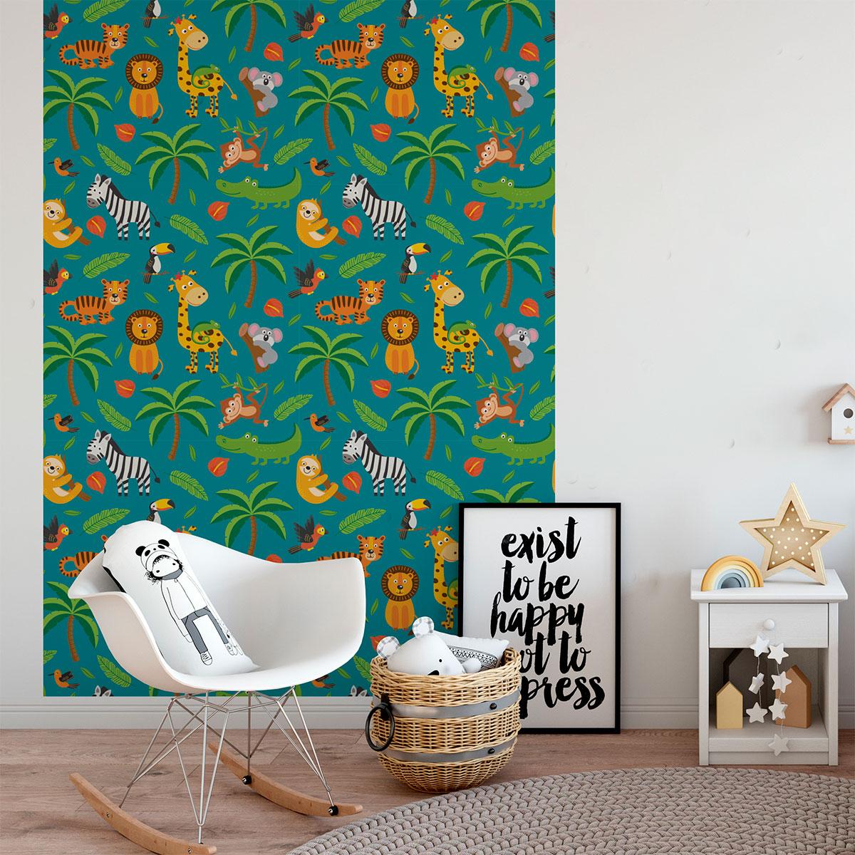 Sticker Tapisserie Chambre Enfant Animaux Tropicaux Animaux