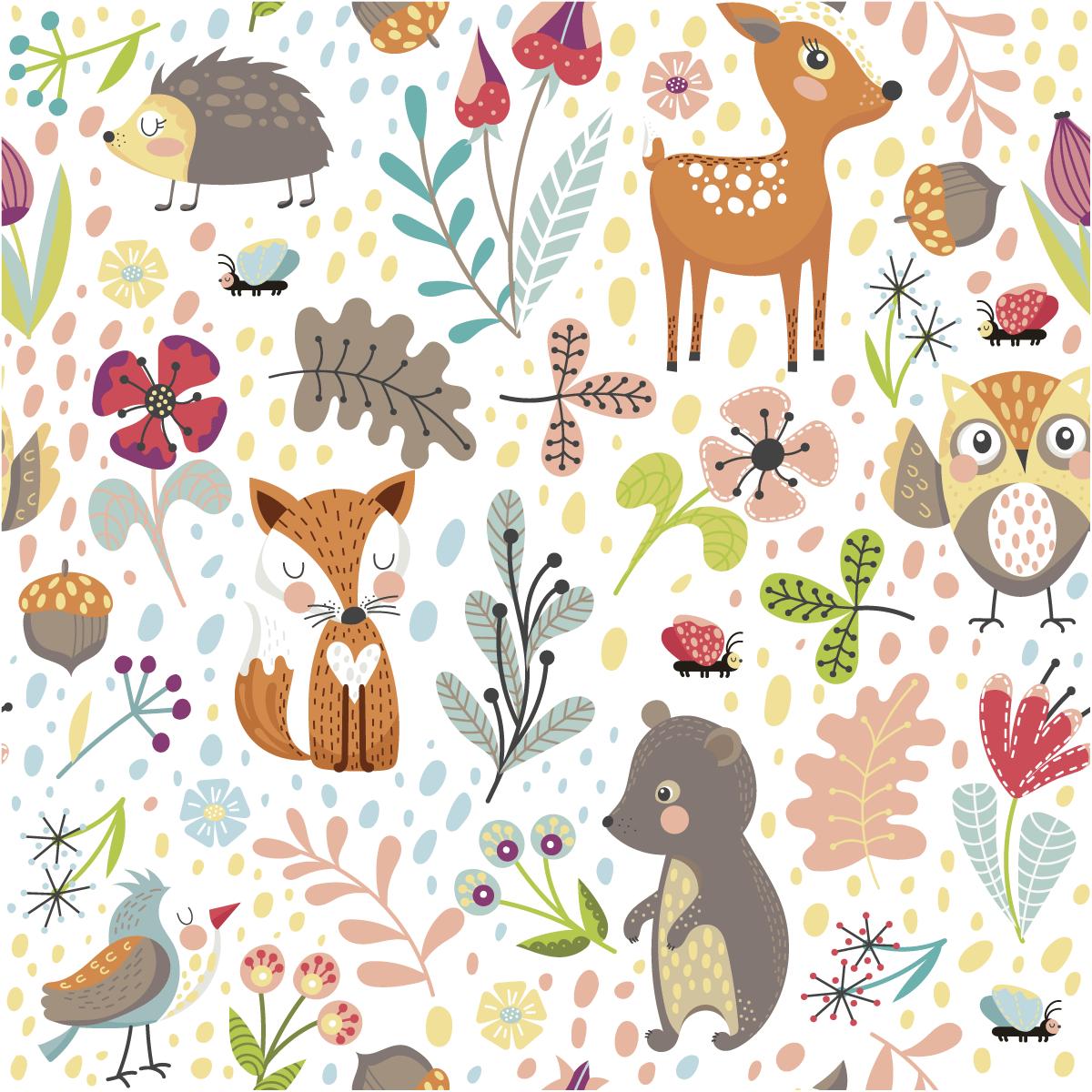 Sticker tapisserie chambre enfant les animaux des bois nature fleurs ambiance sticker - Tapisserie chambre enfant ...