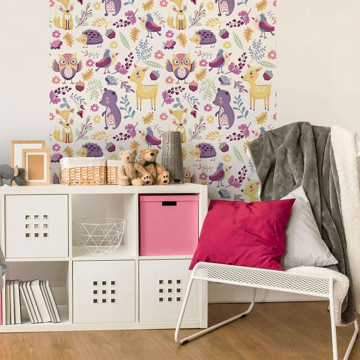 Sticker tapisserie chambre enfant les animaux du parc animaux papillons ambiance sticker - Tapisserie chambre enfant ...