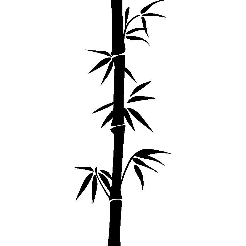 Sticker Tige Et Feuilles De Bambou
