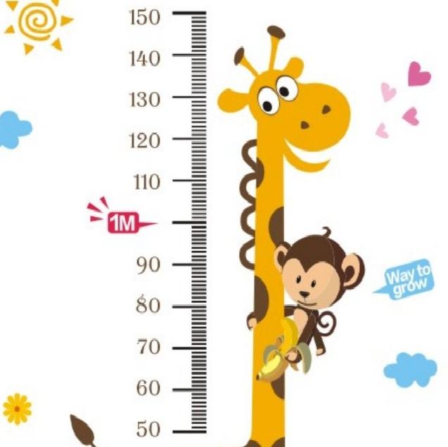 Dessin Girafe Rigolote sticker toise girafe et singe - stickers enfants | ambiance-sticker