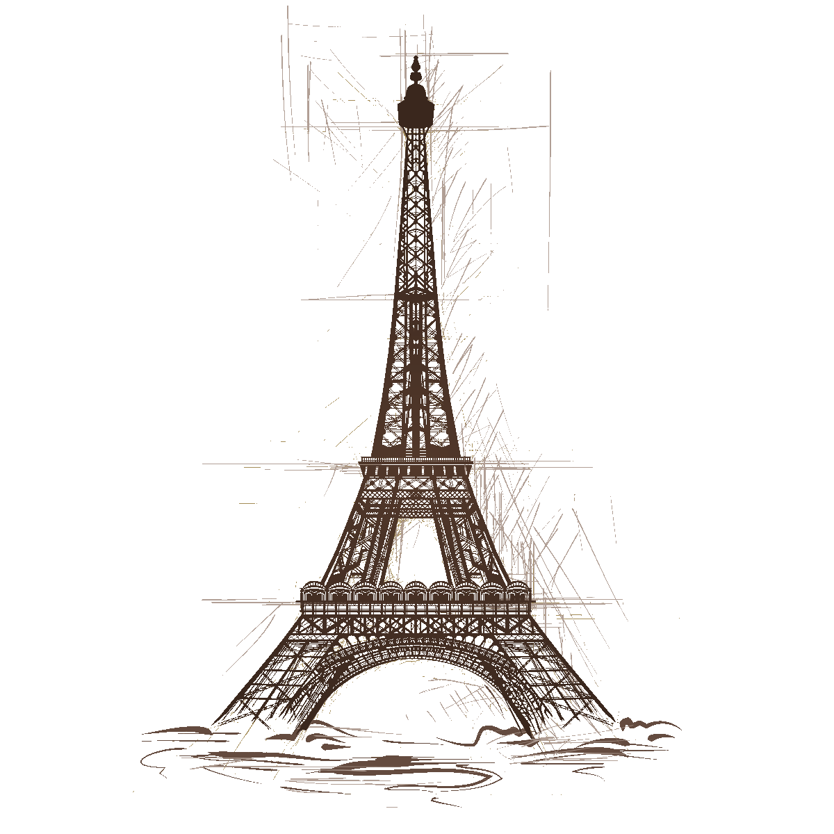 Stickers muraux design - Sticker tour Eiffel design dessin -  ambiance-sticker.com ae42863c59baa