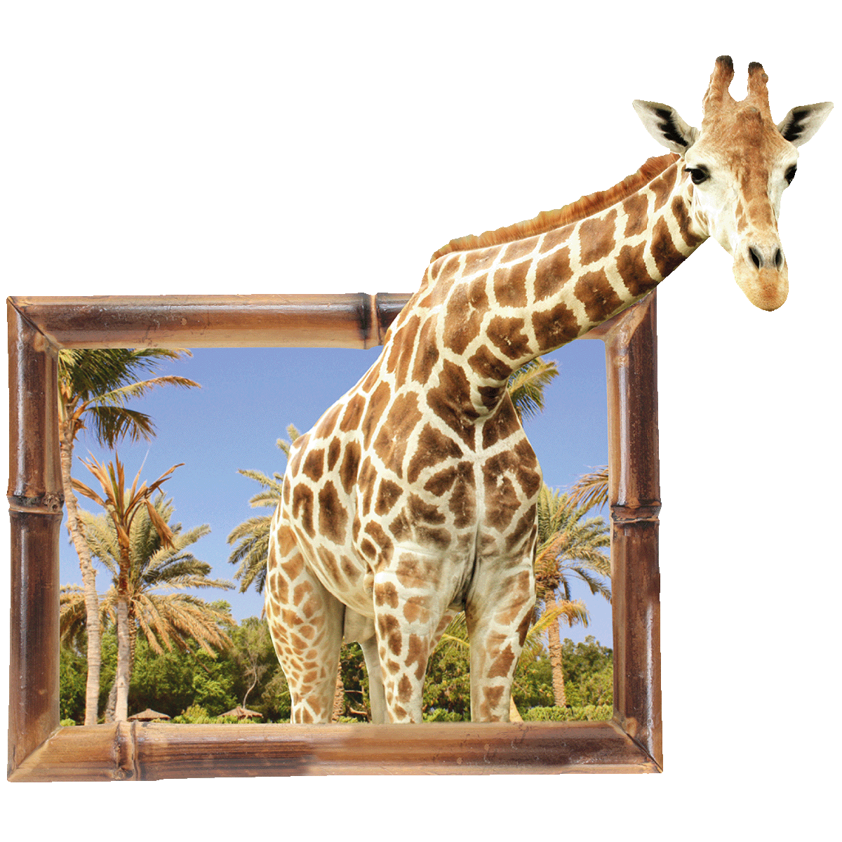 sticker trompe l oeil animaux girafe stickers salon design