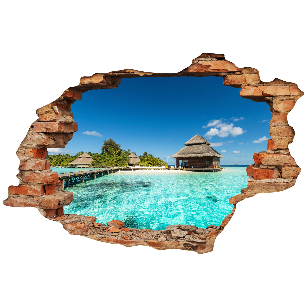 Sticker Trompe Loeil île Paradisiaque Stickers Art Et Design - Plinthe carrelage et tapis de bain bleu lagon