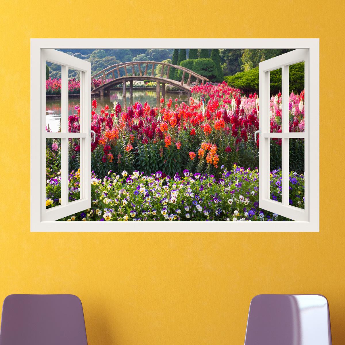 Sticker muraux trompe l\'oeil - Sticker mural Jardin fleuri ...