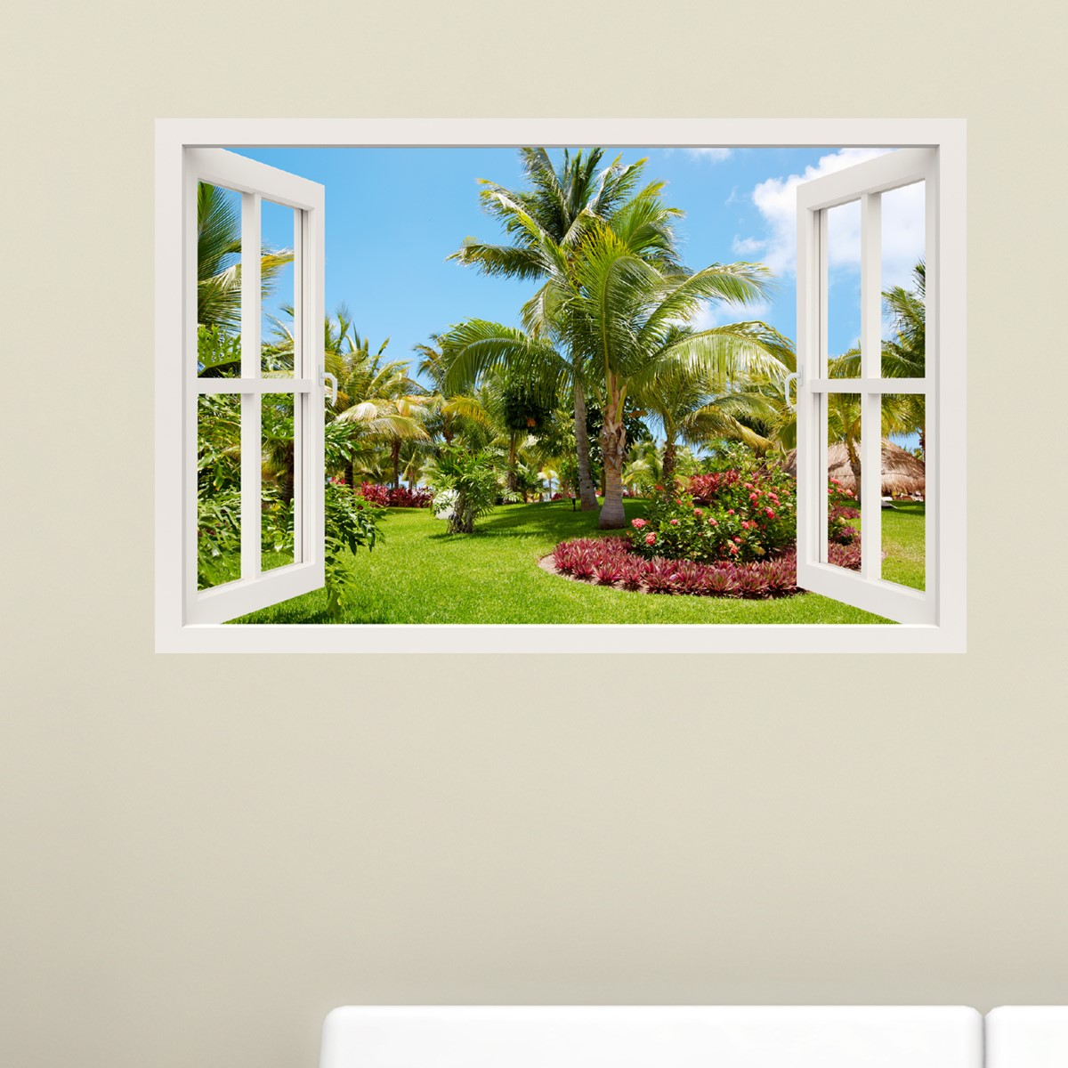 Sticker muraux trompe l\'oeil - Sticker mural Jardin tropical ...