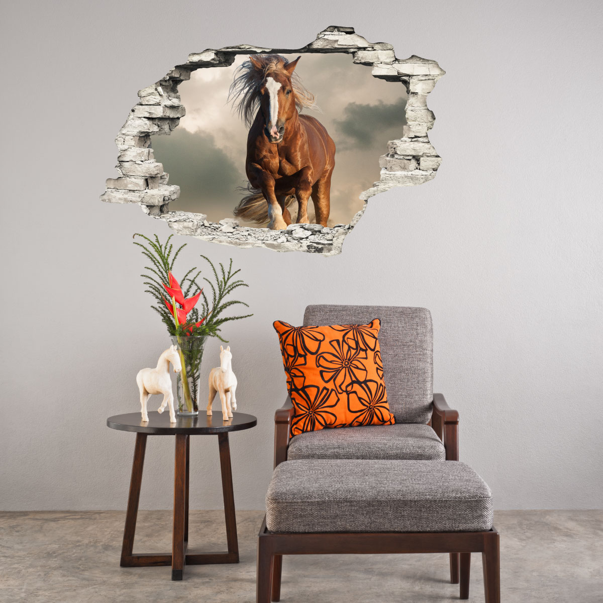 sticker trompe loeil le cheval brun stickers stickers