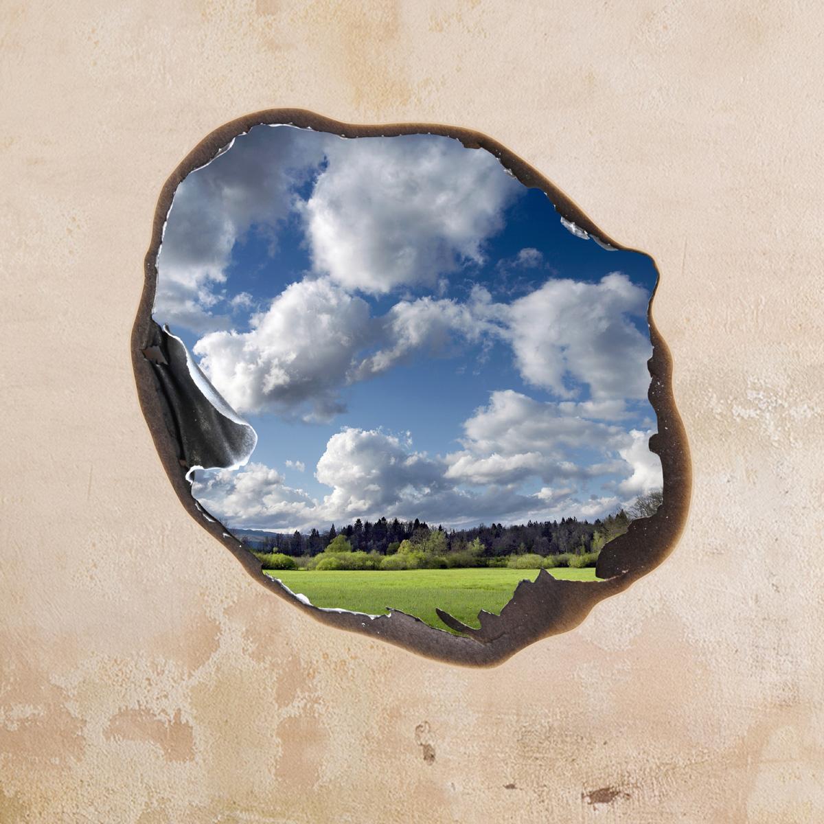sticker muraux trompe l 39 oeil sticker mural nuages dans le trou ambiance. Black Bedroom Furniture Sets. Home Design Ideas