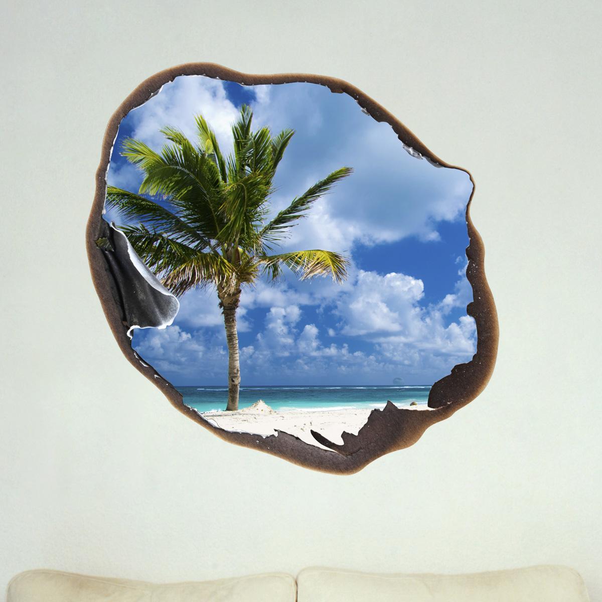 sticker muraux trompe l 39 oeil sticker mural palm et le ciel dans le trou ambiance. Black Bedroom Furniture Sets. Home Design Ideas