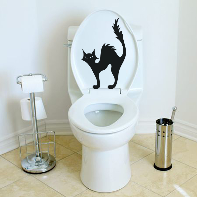 stickers muraux pour wc sticker mural silhouette chat ambiance. Black Bedroom Furniture Sets. Home Design Ideas