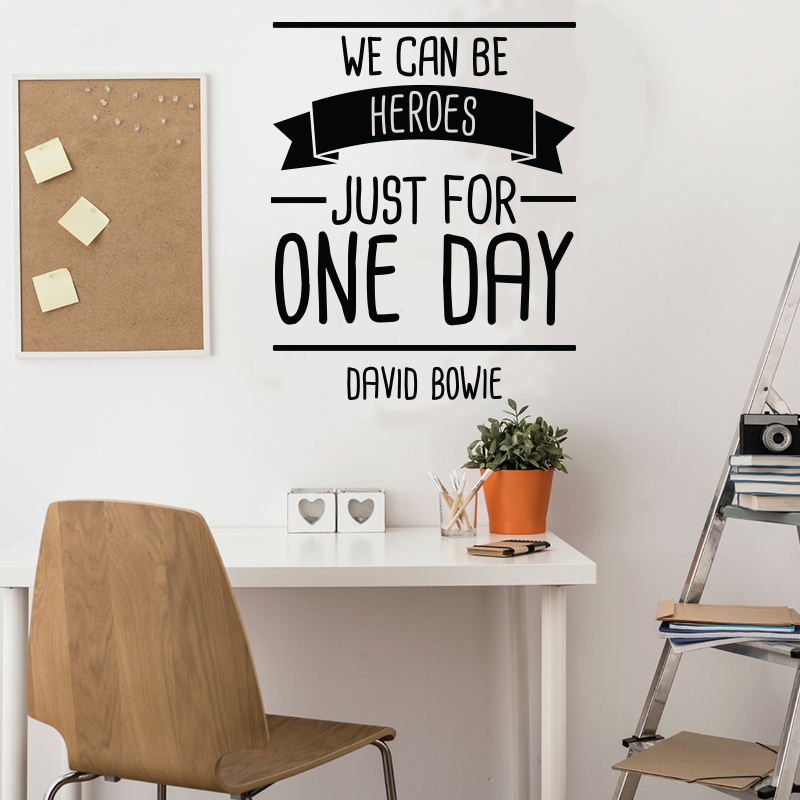 sticker we can be heroes david bowie stickers. Black Bedroom Furniture Sets. Home Design Ideas