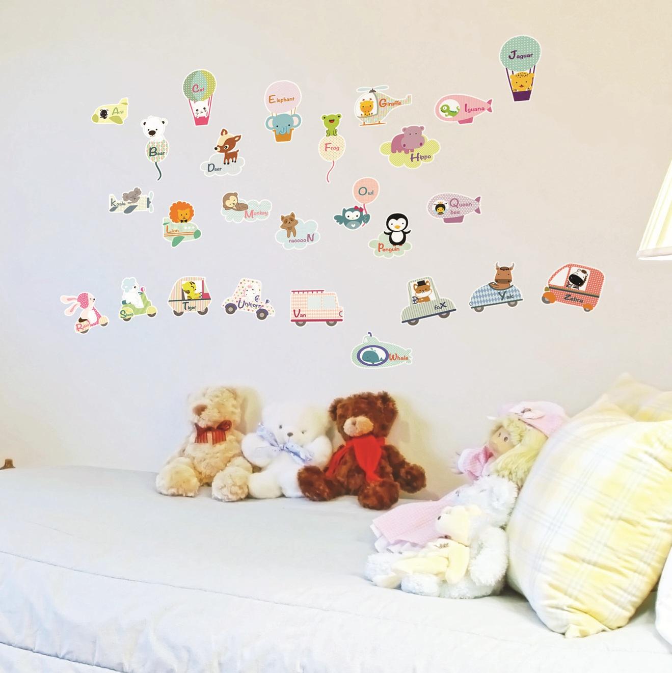 Stickers muraux pour la décoration de chambre denfants sticker animaux et anglais