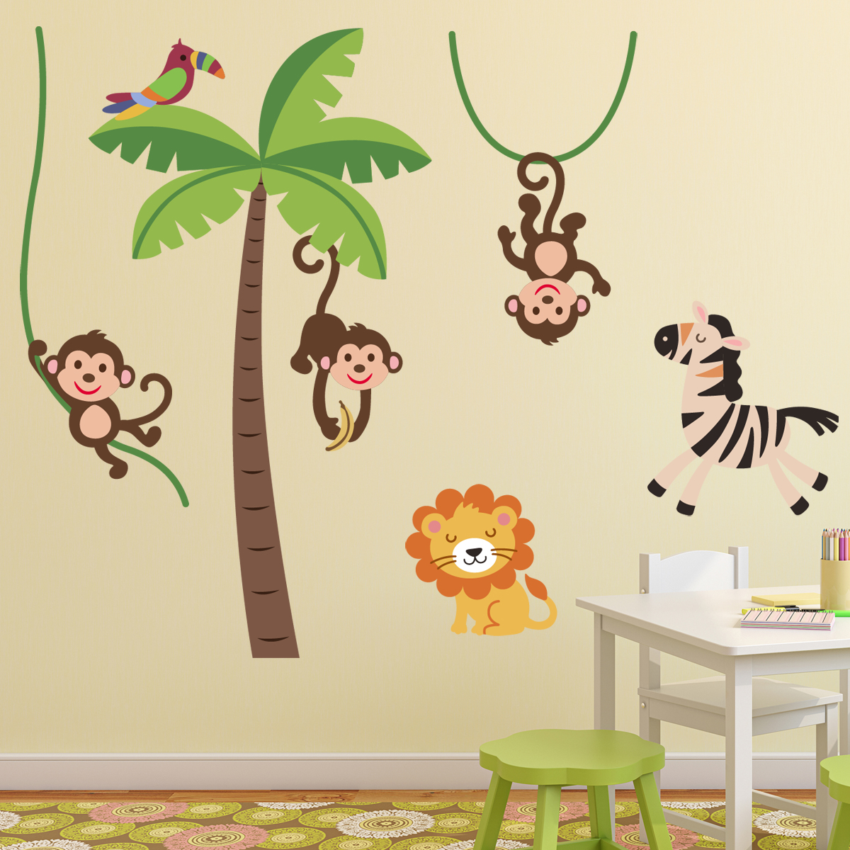 Stickers muraux animaux sticker jungle heureux ambiance - Stickers chambre garcon ...