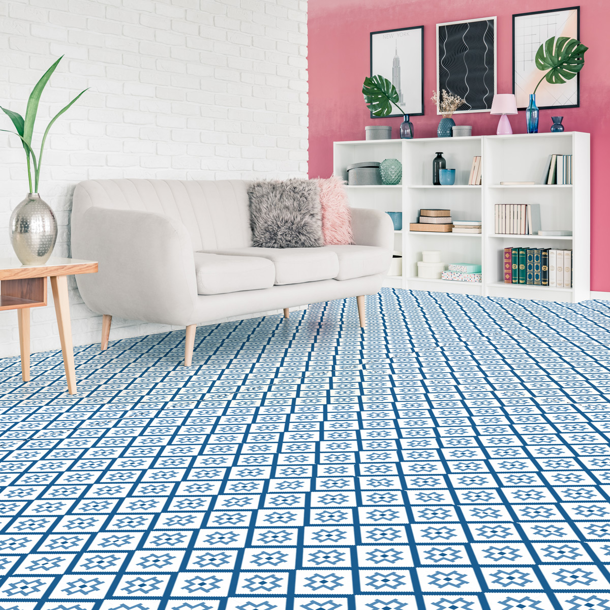 stickers carreaux de ciment sol am lia anti d rapant. Black Bedroom Furniture Sets. Home Design Ideas