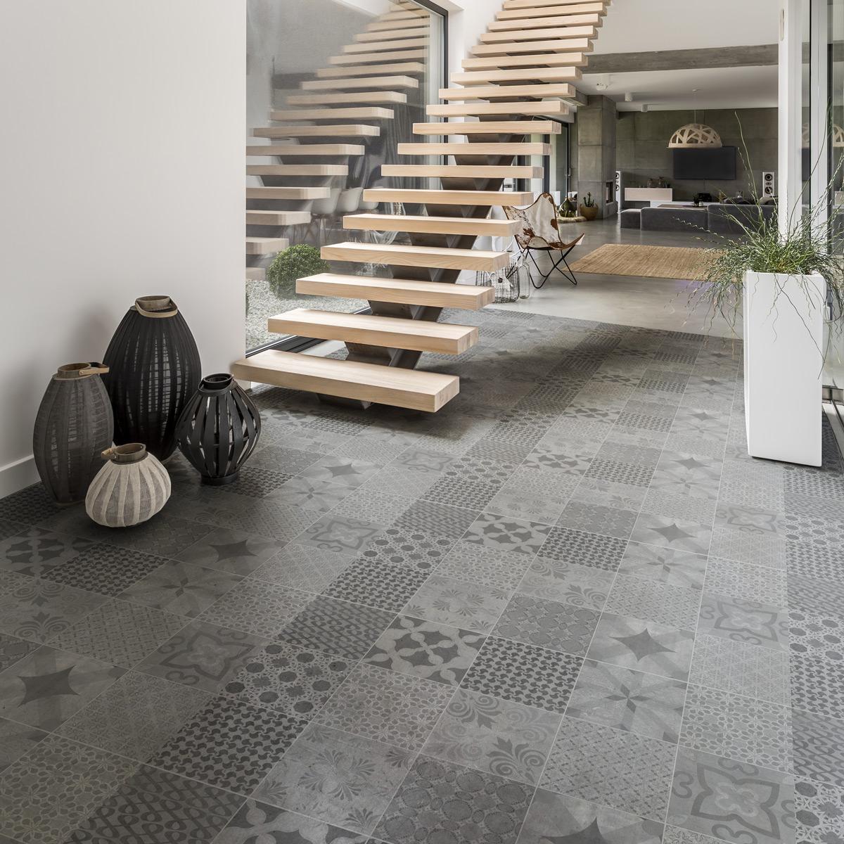 stickers carreaux de ciment sol java anti d rapant. Black Bedroom Furniture Sets. Home Design Ideas