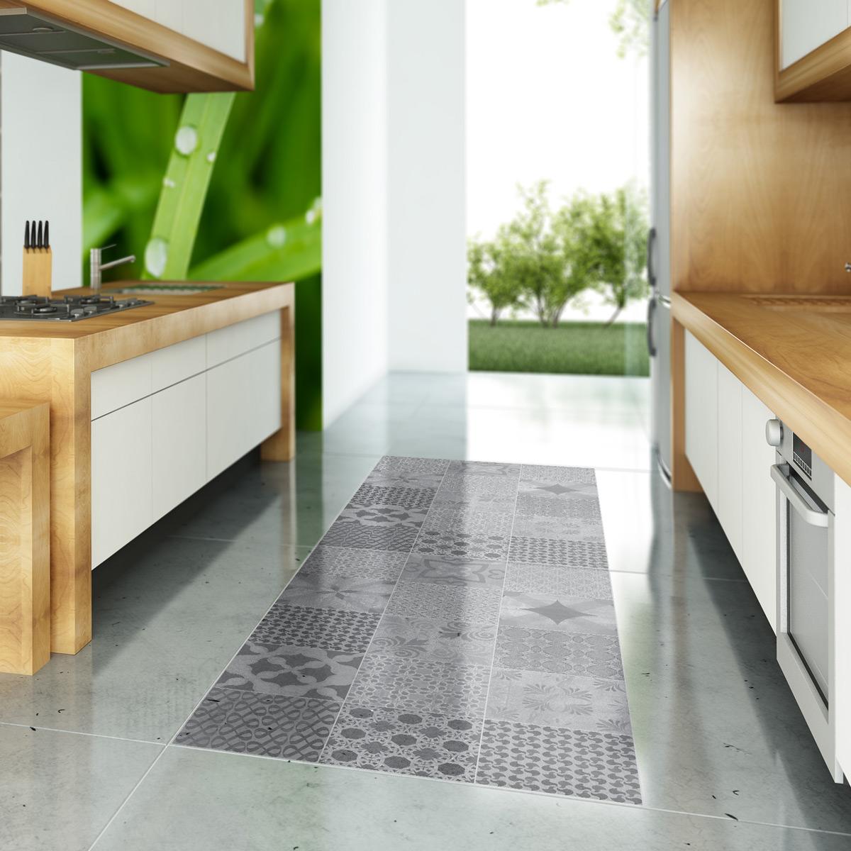 Carreau Ciment Cuisine Sol stickers carreaux de ciment sol java anti-dérapant 60x100cm