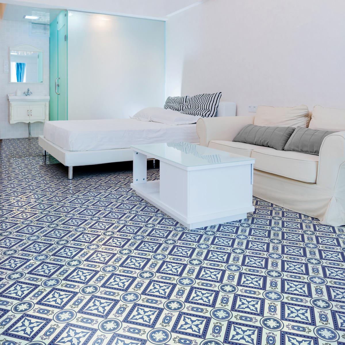 stickers carreaux de ciment sol mirabella anti d rapant. Black Bedroom Furniture Sets. Home Design Ideas