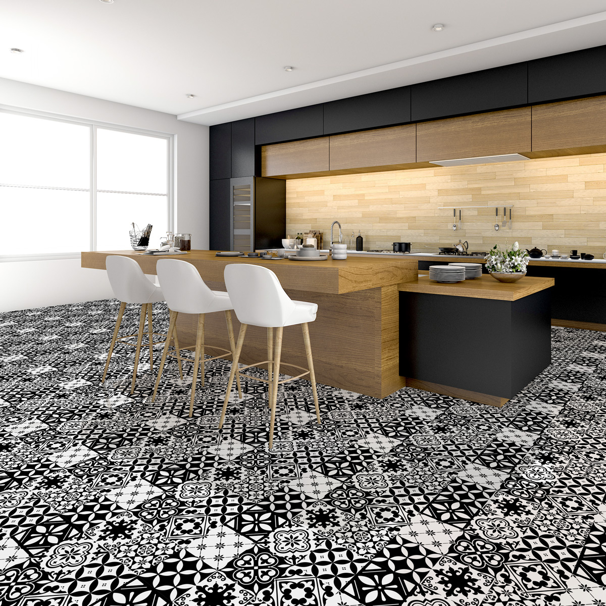 stickers carreaux de ciment sol vanesa anti d rapant. Black Bedroom Furniture Sets. Home Design Ideas
