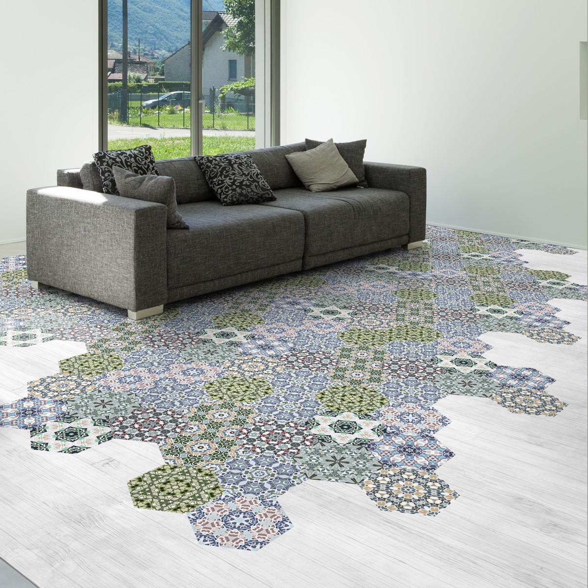 stickers carrelages hexagones sol julia anti d rapant cuisine carrelages ambiance sticker. Black Bedroom Furniture Sets. Home Design Ideas