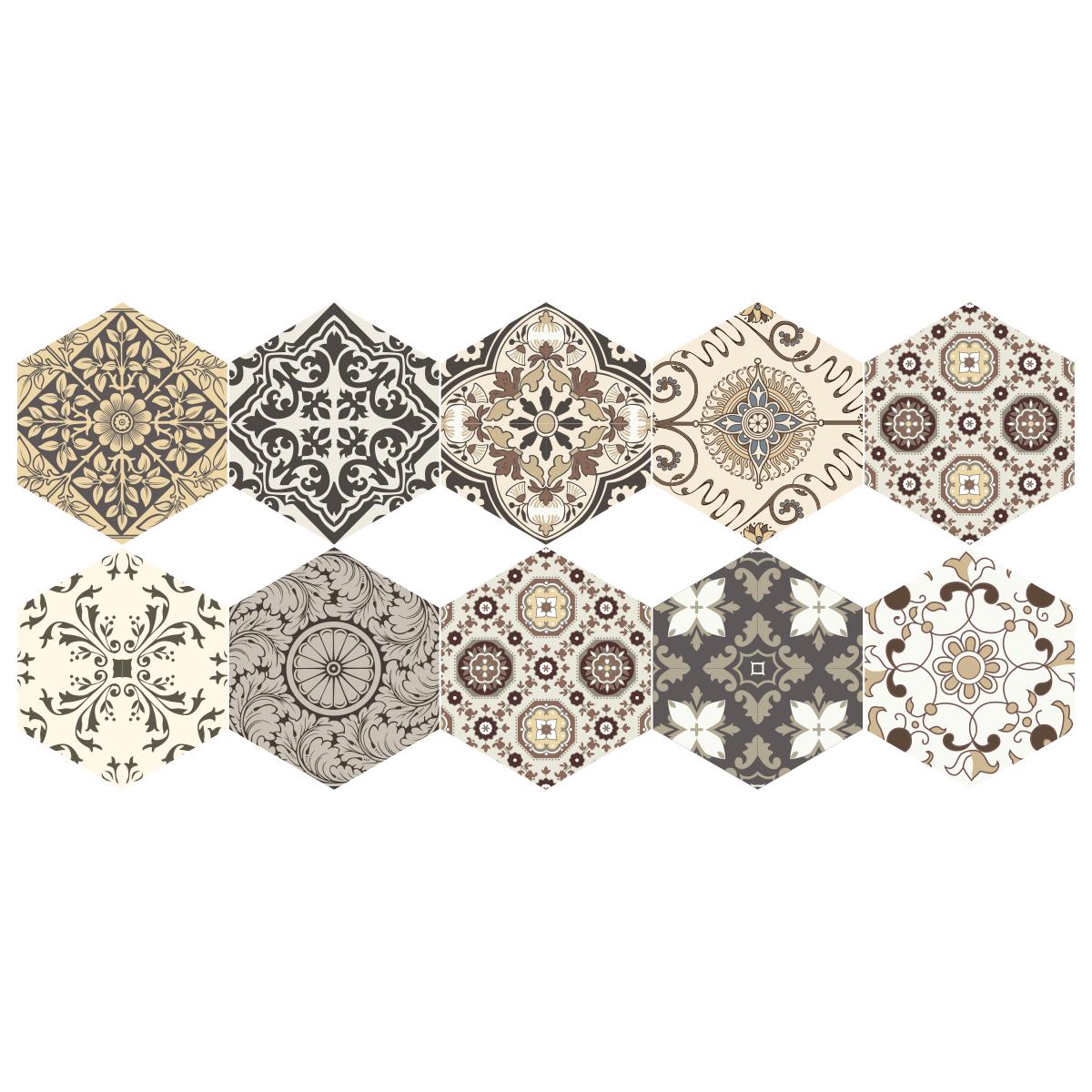 stickers carrelages hexagones sol luiza anti d rapant. Black Bedroom Furniture Sets. Home Design Ideas