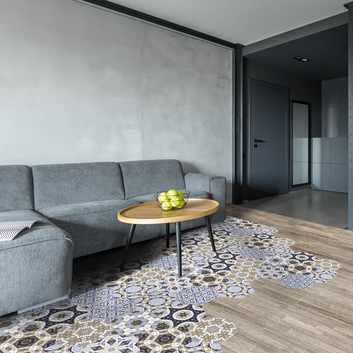 stickers carrelages hexagones sol vivina anti d rapant. Black Bedroom Furniture Sets. Home Design Ideas