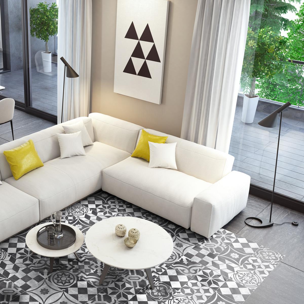 stickers carrelages sol divino anti d rapant 60 x 90 cm. Black Bedroom Furniture Sets. Home Design Ideas