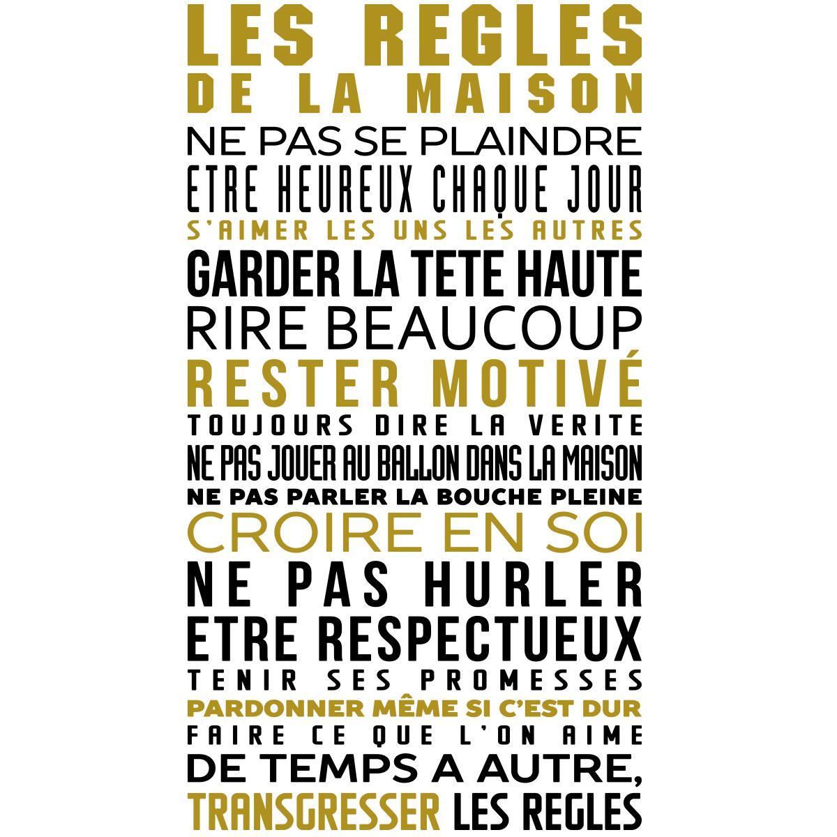 Stickers citation les r gles de la maison en couleur stickers stickers citations fran ais - Cadre regle de la maison ...