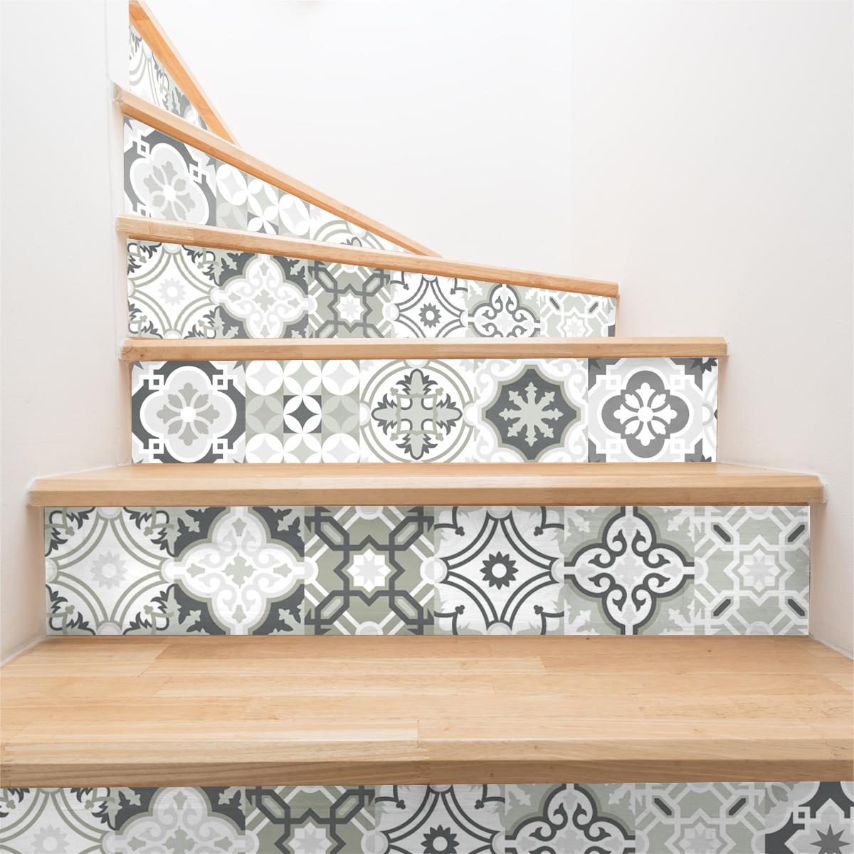 stickers contremarche carreaux de ciment nuances de gris. Black Bedroom Furniture Sets. Home Design Ideas