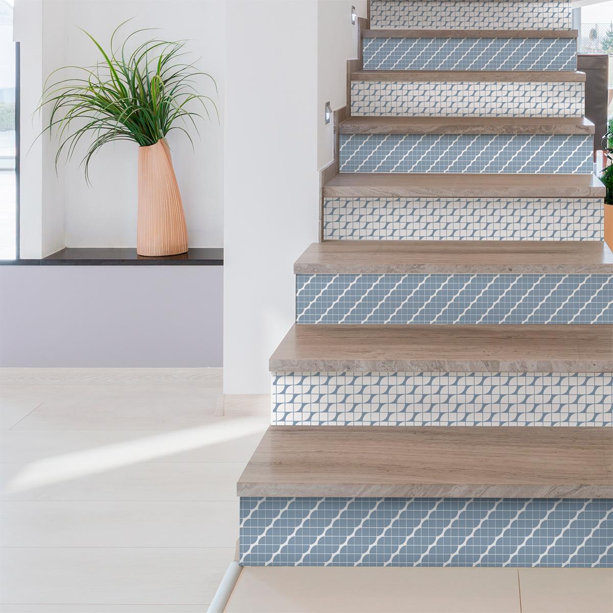 Stickers contremarche carreaux de ciment sigrid x 2 - Escalier carreaux de ciment ...