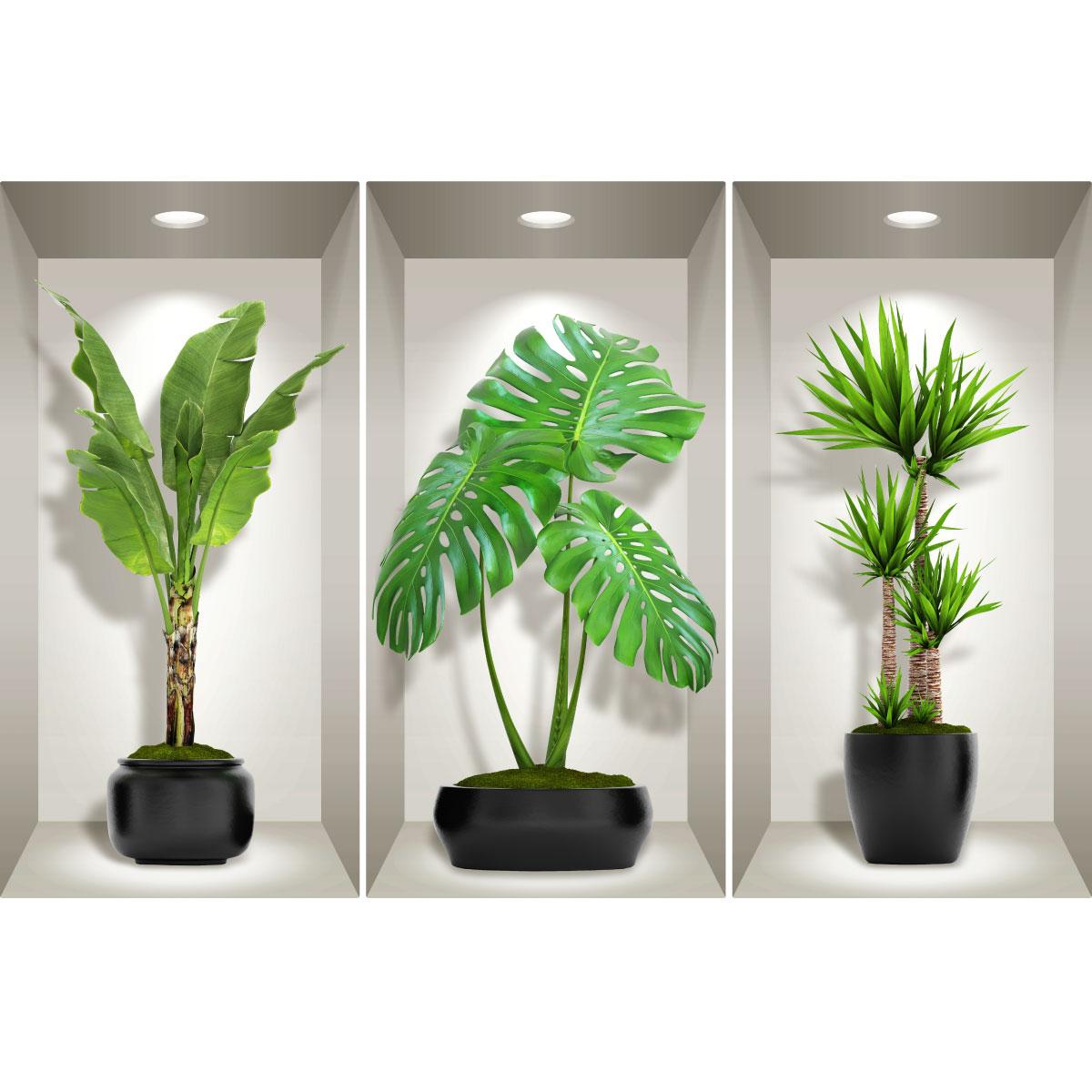 Etagere Pour Plantes Interieures stickers effet 3d longues plantes vertes d'intérieur