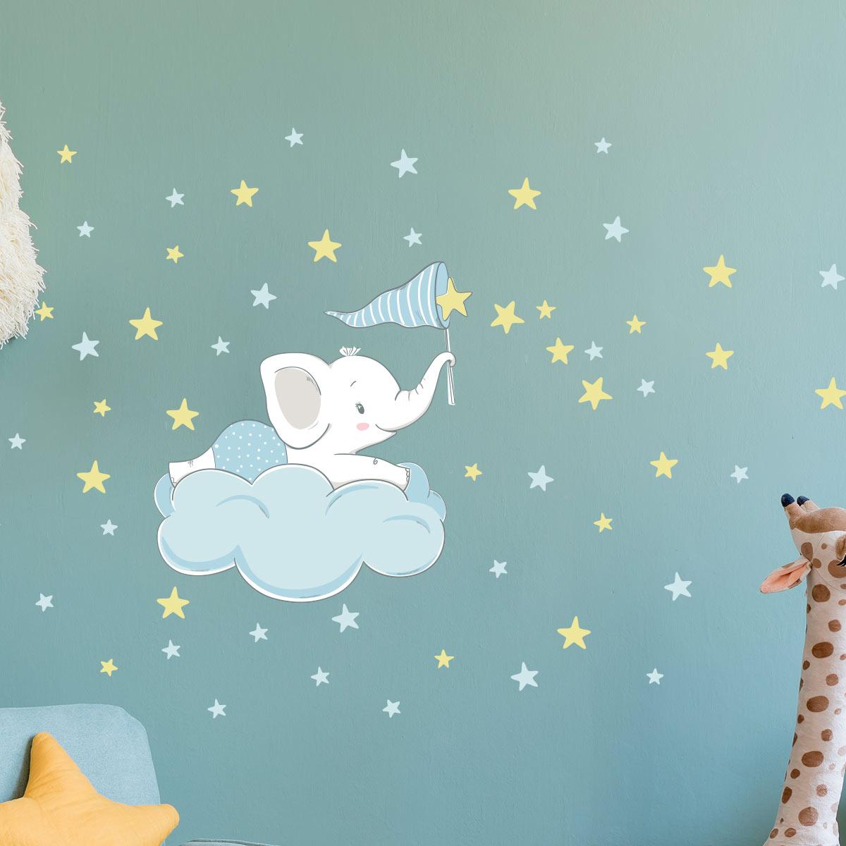 Wandtattoos Kind Junge Elefant Fangt Die 60 Sterne Wandtattoos Geschenkideen Baby Geschenke Aufkleber Ambiance Sticker