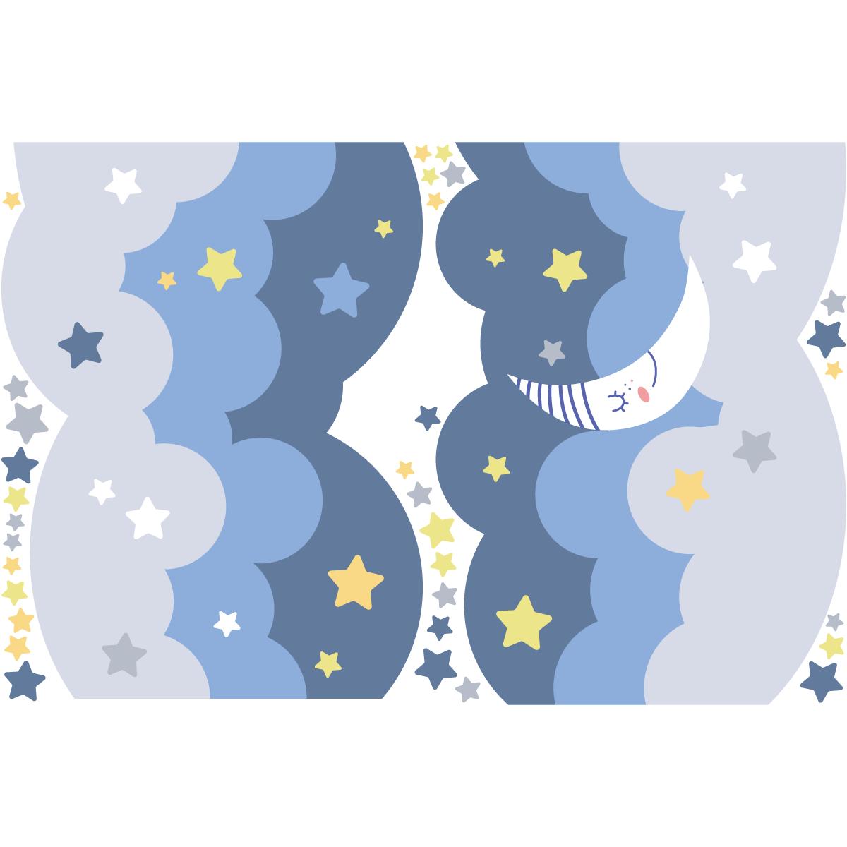 Sticker mural en vinyle motif nuages lune et /étoiles