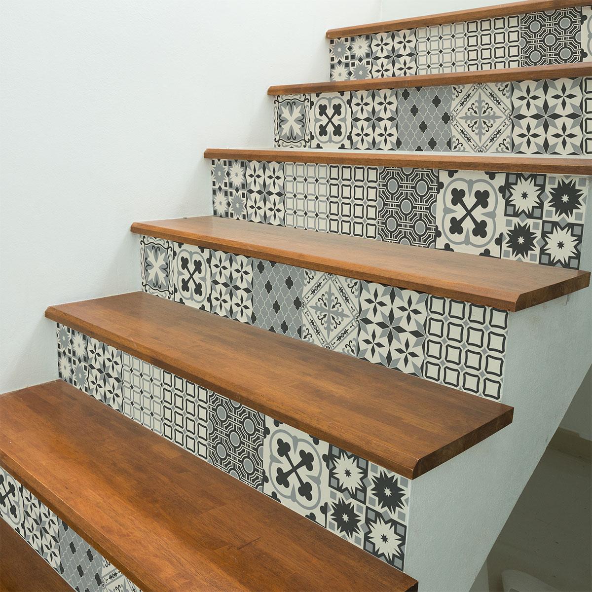 Stickers escalier carreaux de ciment gerta x 2 ambiance - Escalier carreaux de ciment ...