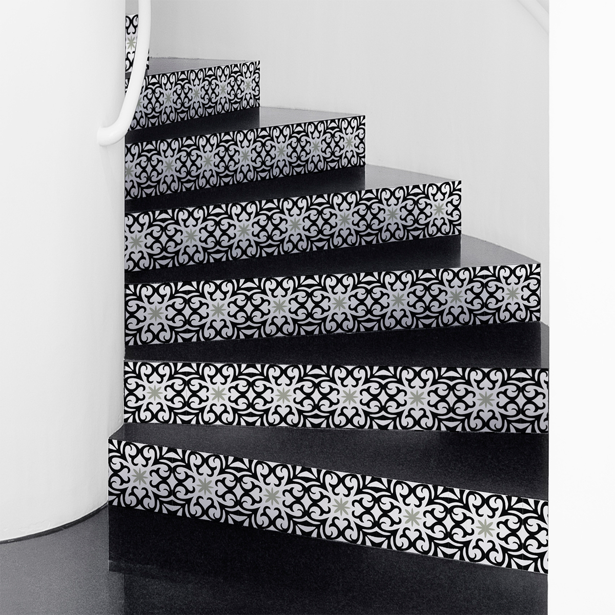 stickers escalier carreaux de ciment saveria x 2 ambiance sticker col stairs ros b537 stickers. Black Bedroom Furniture Sets. Home Design Ideas