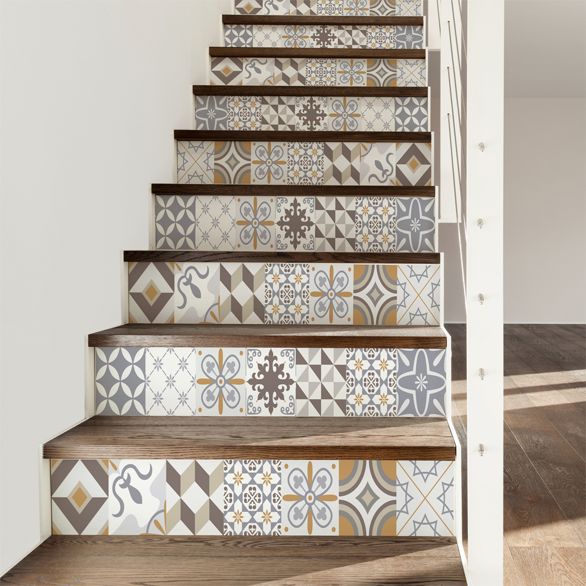 Stickers Escalier Carrelages Ornements Sobres X 2 Ambiance Sticker