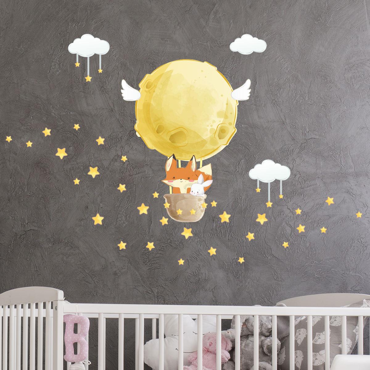 Kit 6 adesivi Gatto cat gattini murale wall decal sticker baby muro nero animali