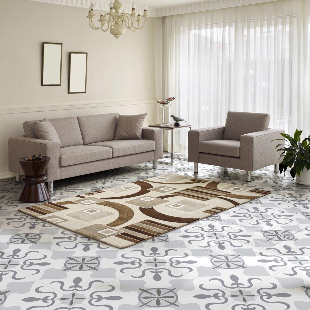 stickers sol carreaux de ciment caio anti d rapant. Black Bedroom Furniture Sets. Home Design Ideas