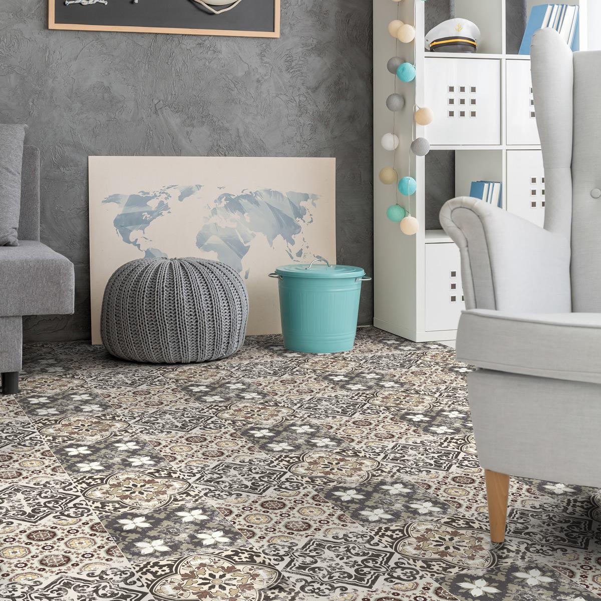 stickers sol carrelages domingo anti d rapant salle de. Black Bedroom Furniture Sets. Home Design Ideas