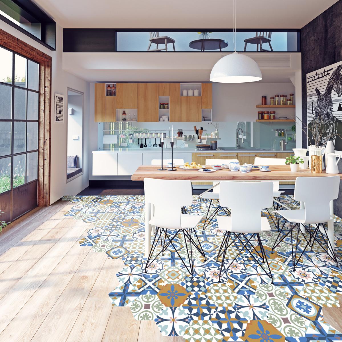stickers tomettes sol morgania anti d rapant salle de. Black Bedroom Furniture Sets. Home Design Ideas