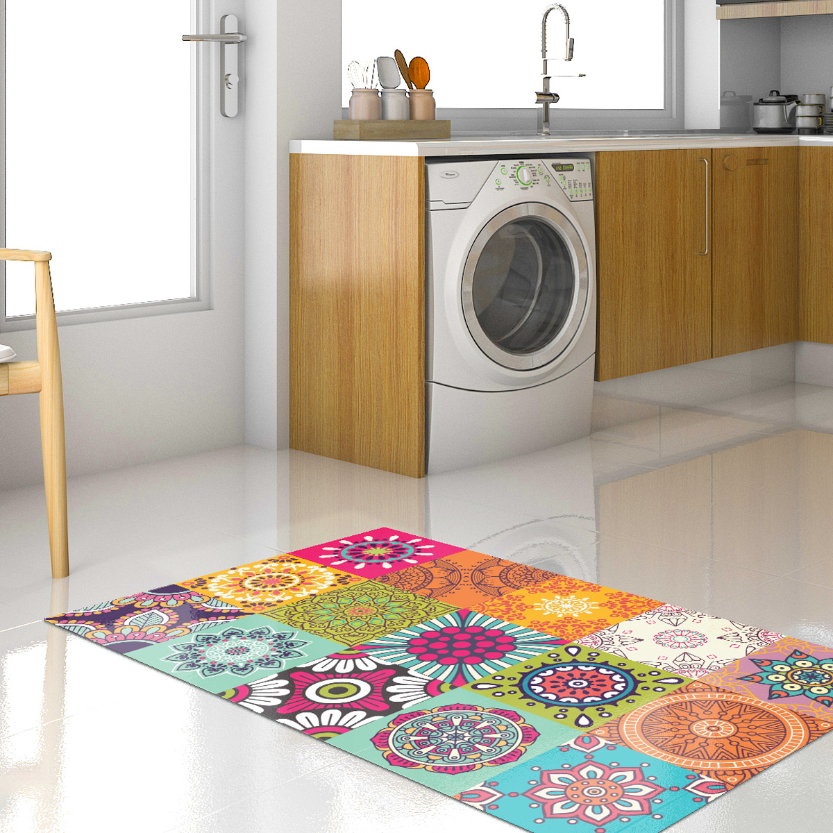 tapis vinyle carrelages azteka 60 x 100 cm stickers. Black Bedroom Furniture Sets. Home Design Ideas