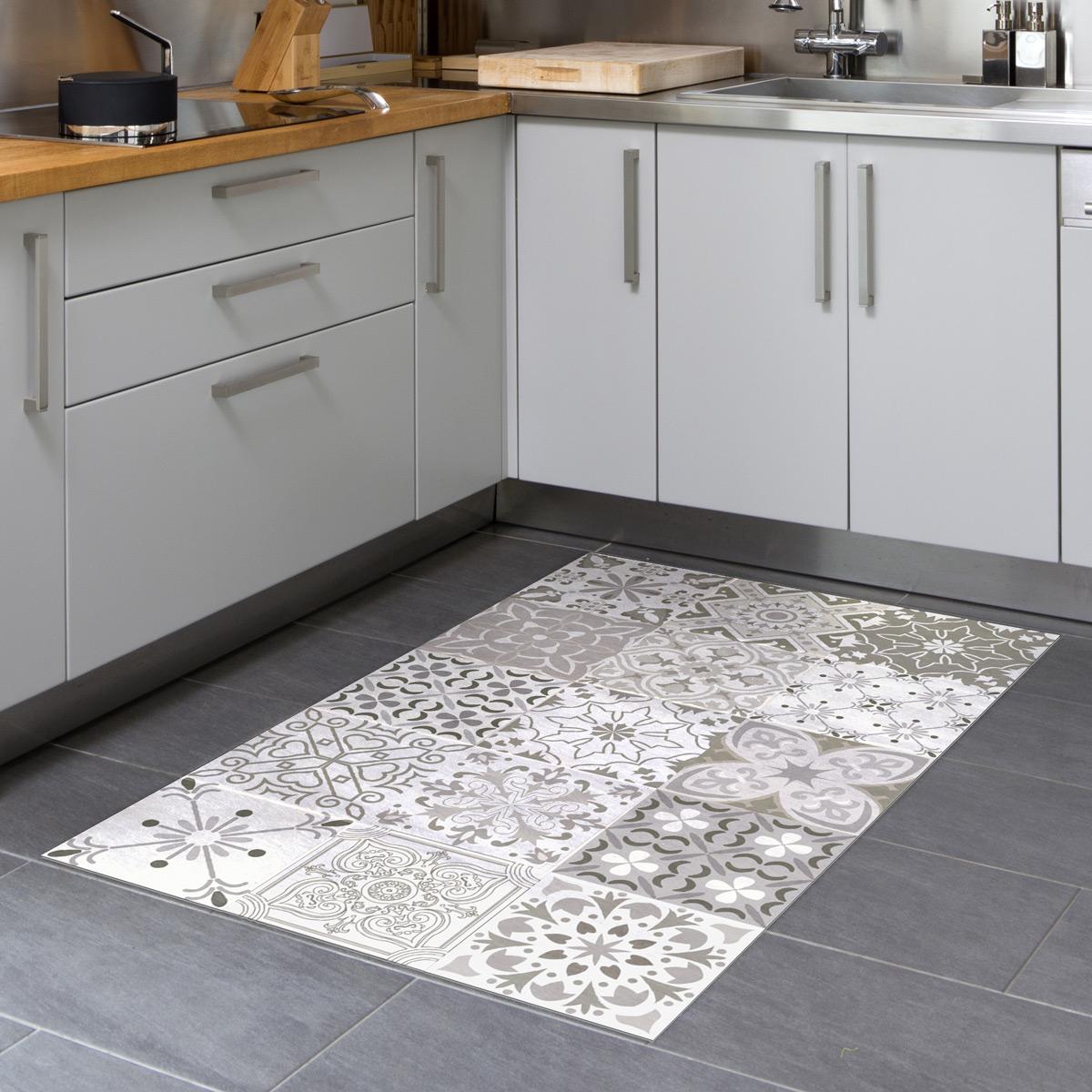 tapis vinyle carrelages nuances de gris rom o 60 x 100 cm stickers stickers art et design
